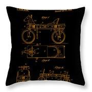 Patent Art 1920 Herzog Hobby Horse Gold Throw Pillow