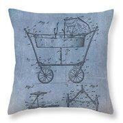 Patent Art Baby Carriage 1922 Mahr Denim Throw Pillow