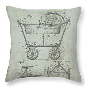 Patent Art Mahr Baby Carriage 1922 Green Throw Pillow