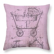 Patent Art Mahr Baby Carriage 1922 Pink Throw Pillow
