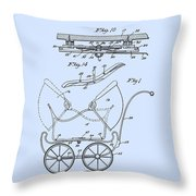 Patent Art Robinson Baby Carriage Blue Throw Pillow