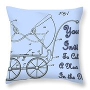 Patent Art Robinson Baby Carriage Invite-blue Throw Pillow