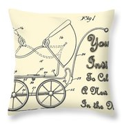 Patent Art Robinson Baby Carriage Invite Yellow Throw Pillow