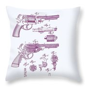 Patented Revolver In Purple Throw Pillow