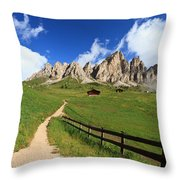 path in Gardena pass Throw Pillow
