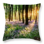 Sunrise Path Through Bluebell Woods Throw Pillow