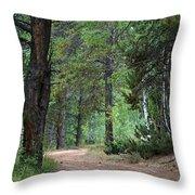 Path Through The Pines - Casper Mountain - Casper Wyoming Throw Pillow