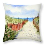 Path To East Beach-watch Hill Ri Throw Pillow