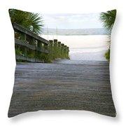 Path To The Empty Beach Throw Pillow