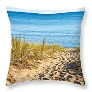 Path To The Lake Superior Beach Throw Pillow