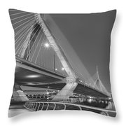 Path To The Leonard P. Zakim Bridge Bw Throw Pillow