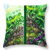 Path To The Unknown Diptych In Green Throw Pillow