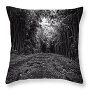 Pathway Through A Bamboo Forest Maui Hawaii Throw Pillow