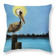 Patiently Fishing Throw Pillow