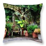 Patio Garden In The Rain Throw Pillow