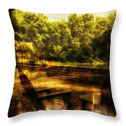 Patio Seating At The Nature Center Merged Image Throw Pillow