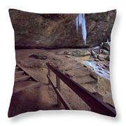 Pato To Ash Cave In Winter Throw Pillow