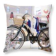 Patriotic Bicycle Throw Pillow