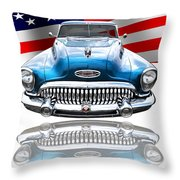 Patriotic Buick Riviera 1953 Throw Pillow