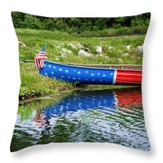 Patriotic Canoe #1 Throw Pillow