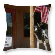 Patriotic Cow Cave Creek Arizona 2004 Throw Pillow