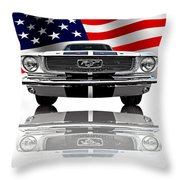 Patriotic Ford Mustang 1966 Throw Pillow