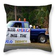 Patriotic Honey Salesman Throw Pillow