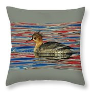 Patriotic Merganser Throw Pillow