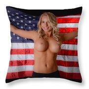 Patriotic Sexy Woman  Throw Pillow