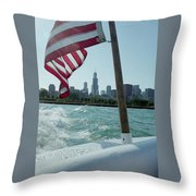 Patriotic Skyline Throw Pillow