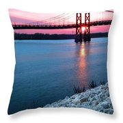 Patriotic Sunset Thru Bridge Throw Pillow