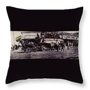 Patriotic Wagon Stone And Congress Tucson Arizona C.1900 Restored Color Texture Added 2008 Throw Pillow