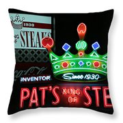 Pat's King Of Steaks Throw Pillow