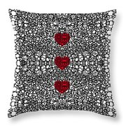 Pattern 34 - Heart Art - Black And White Exquisite Patterns By Sharon Cummings Throw Pillow by Sharon Cummings