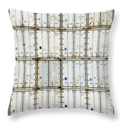 Pattern Of Shipping Container Stack At Depot Throw Pillow