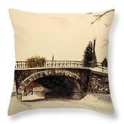 Patterson Creek Bridge In Winter Throw Pillow