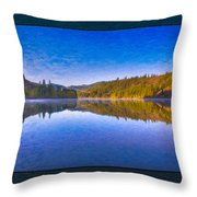Patterson Lake Fall Morning Abstract Landscape Painting Throw Pillow