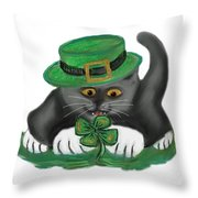 Patty The Grey Kitten Loves Four Leaf Clovers Throw Pillow