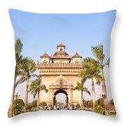 Patuxai Gate - Vientiane - Laos Throw Pillow