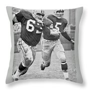 Paul Hornung Running Throw Pillow by Gianfranco Weiss