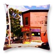 Paul Patate Pointe St Charles South West Montreal Autumn Street Scene Carole Spandau Throw Pillow