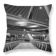 Paul Revere Park And The Zakim Bridge Bw Throw Pillow