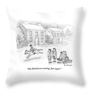 Paul Revere Rides Past Two Colonial Men Smoking Throw Pillow