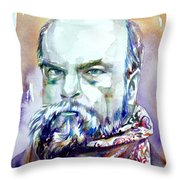 Paul Verlaine - Watercolor Portrait.1 Throw Pillow