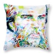 Paul Verlaine - Watercolor Portrait.2 Throw Pillow