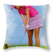 Paula Creamer In Actionon The Evian Masters Throw Pillow