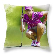 Paula Creamer Lines Up Her Putt Throw Pillow