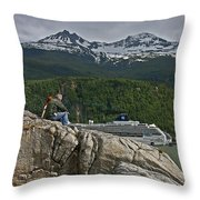 Pause In Wonder At Cruise Ships In Alaska Throw Pillow