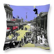 Paving East Congress In Tucson 1913 The Year Villa Visited Tucson Throw Pillow