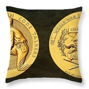 Pawnee Nation Tribe Code Talkers Bronze Medal Art Throw Pillow